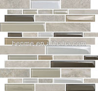 Linear crystal premium mosaics tile living room glass showcase design
