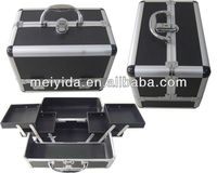 Aluminium black make up train case with two sides open