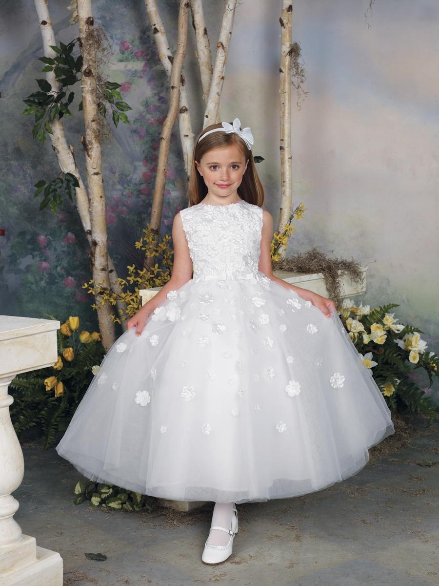Lovely O-neck Ankle-length Tulle Skirt Ball Gown Flower Girl Dress ...