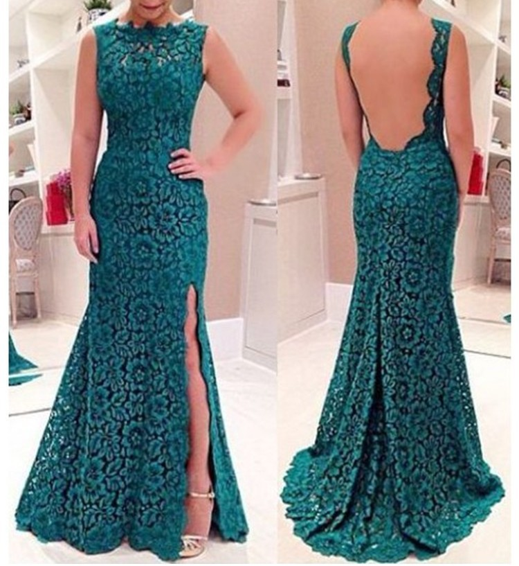 Wholesale 2017 New Vestidos De Noite Robe De Soiree Ladies Fashion Cheap Clothes Sexy Backless Split Long Evening Party Dress