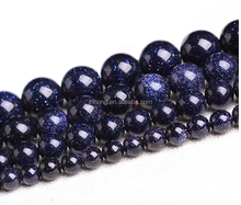 natural blue gold stone round diy beads for jewelry slider beads for bracelets