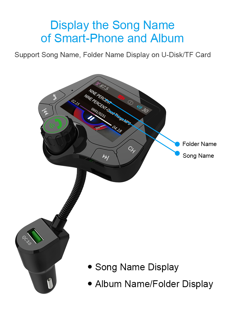GXYKIT 2019 G24 QC3.0 charger Color LCD bluetooth fm transmitter wireless handsfree car mp3 player with 2 inch screen