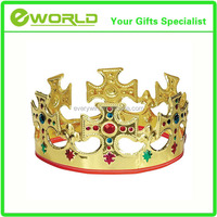 Wholesale Personalized Unique Gold Plastic Jeweled King Crown