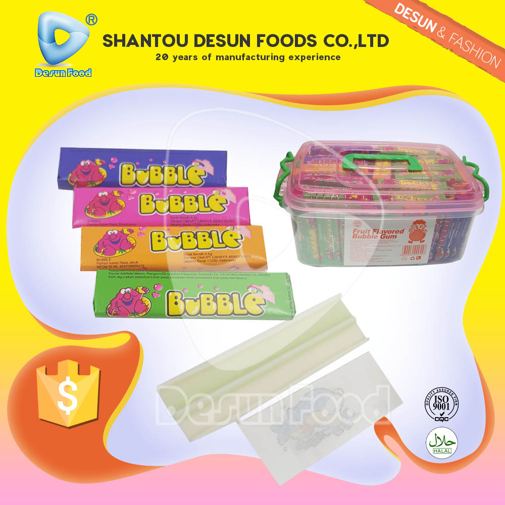 Lowest price fruit bubble gum with tatoo in plastic box manufacture