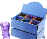 Cylinder Ribbed Colored Glass Candle Holder