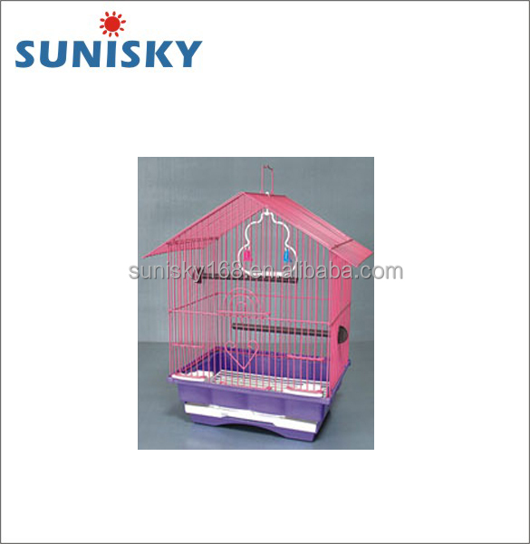 Colorful Small Hanging Wire mesh bird cage with perch for canary and parrot