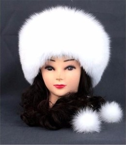 News fashion warm white fox / mink fur women 's hats and caps with two fur ball in winter