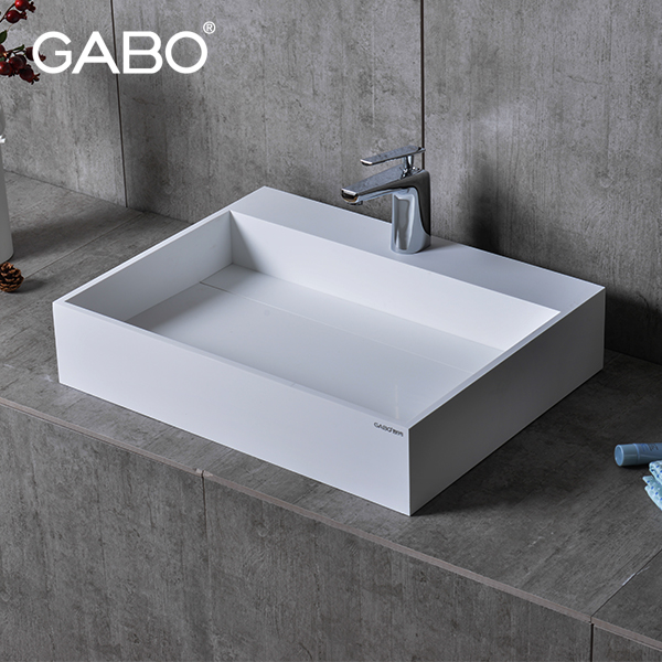 Splendid Single Faucet Hole Stone Bath Vanities Sinks With Tops