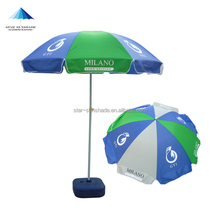 Chinese green/blue/white branded design logo imprint sun beach parasol umbrella outdoor green blue white color
