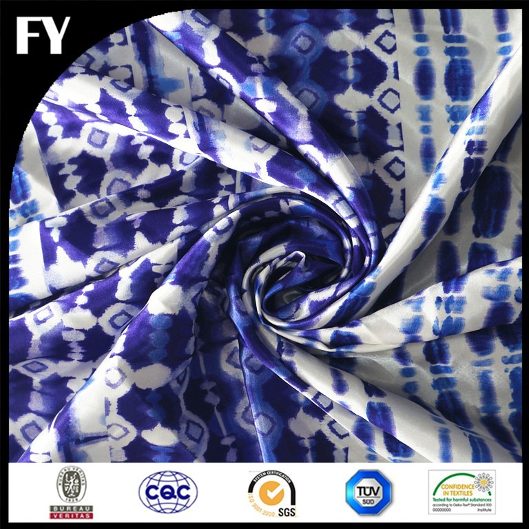 high quality digital printed mulberry silk satin fabric