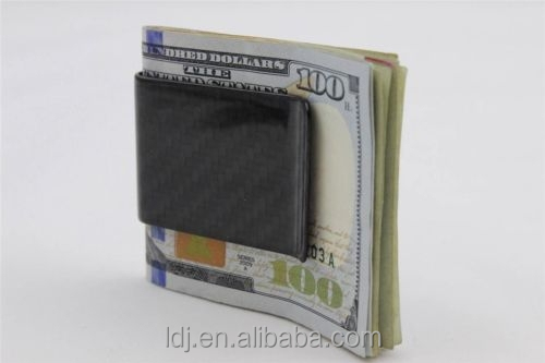 Real Carbon Fiber Money Clip Business Credit Card Holder Wallet Gloss Carbon Money Clip