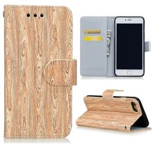 For Samsung S5 Wallet Case Wood Grain Leather Flip Case Cover with Card slots Stand