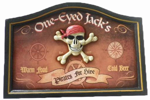 Wooden Pirate Design Decorative Wall Plaque