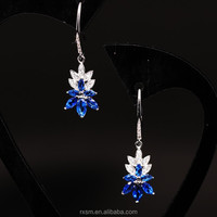 925 Sterling Silver Silver Jewelry Blue Diamond Leaf Earring Eardrop Wholesale