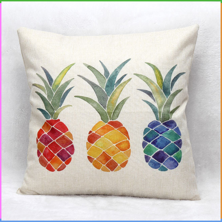 Imitation Linen Fabric Pineapple Printed Sofa Cushion Cover Wholesale