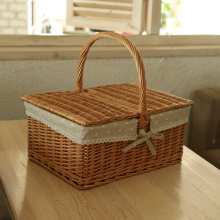 Kingwillow, Rectangular Wicker Picnic Basket with handle and lids