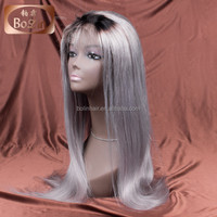 22'' Grey Wig Large Cap Full Lace Wig Bleached Knots with Baby Hair Ombre Silver Grey Lace Wig
