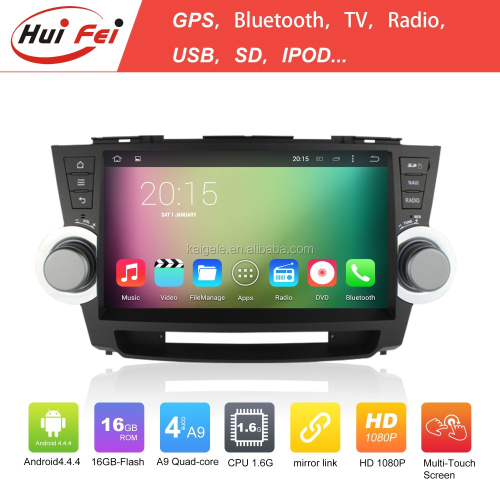 For Toyota Highlander DVD Car Audio Navigation System HuiFei Android 4.4.4 Car DVD