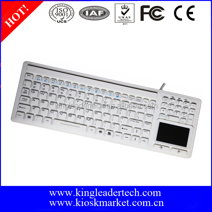 Professional Grade Medical and Industrial keyboard with touchpad(USB/PS2)(White)
