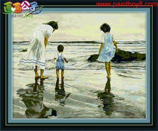 Good quality Diy oil Paint by numbers G016 family photo design seascape painting