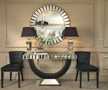 Luxury hotel washroom / Lobby decor console table mirror set
