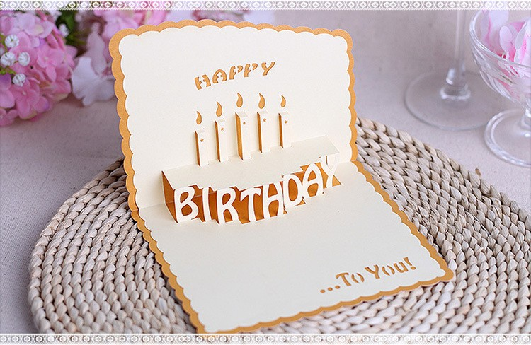 3D Postcard Greeting CardsBirthday Cards Kirigami PaperPop Up Laser Cut Vintage Birthday Cake with Candle Gift Card Invitations