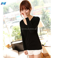 New Womens Fashion Solid Color Pullover Long Sleeve V-neck Knit T-shirt