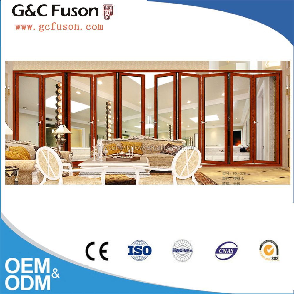 White colour aluminum frame lowe glass lightweight folding door for living room