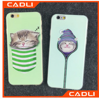 Factory price tpu pocket cat 2d sublimation cute mobile phone case for iphone 5 5s SE 6s