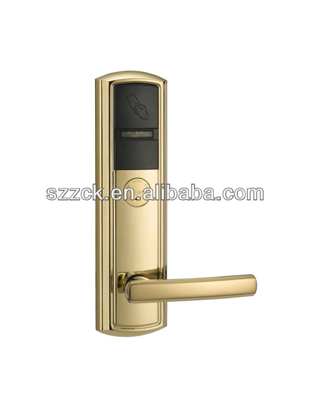 2013 RFID card intelligent hotel door lock luxury handle door lock keyless card master lock