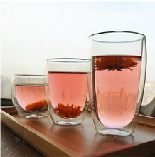 Wholesale high quality double glass tea cup with bamboo cover