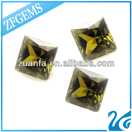 high quality control square cut peridot synthetic cz stones loose gems
