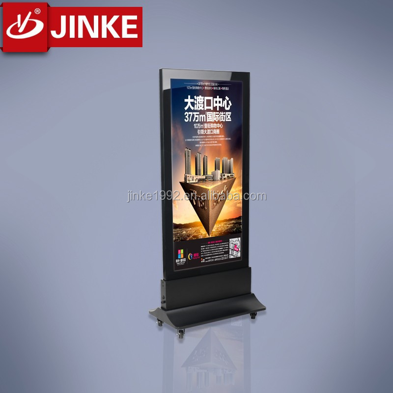 JINKE mobile metal frame double sided indoor advertising light box for sale