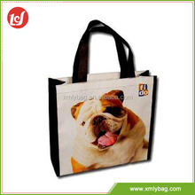 Professional custom cute dog PP woven tesco shopping bags