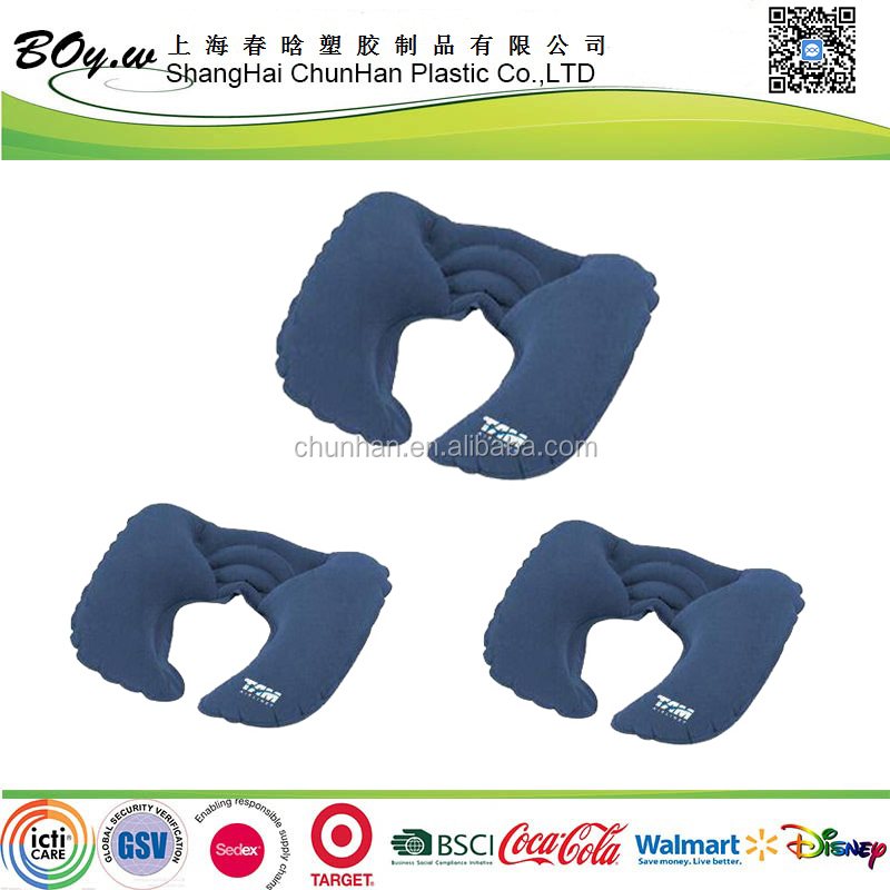 Target supplier wholesales comfortable promotional U shape flocked neck inflatable air pillow