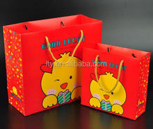 red color customized cartoon recycle paper wrapping bag