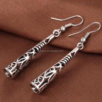 antique ethnic style hollow allloy carved designs dangle earrings