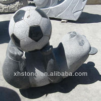 Panda and football Granite Stone Statue