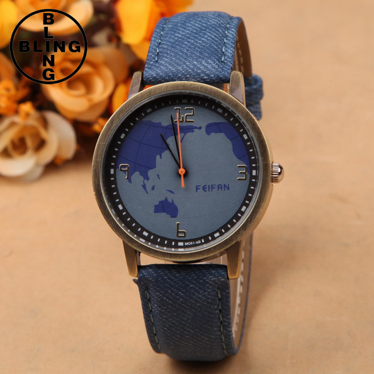 BLINGFASHION Brand Casual Women Celestial Map Quartz Watch Relogio Feminino Fashion Vintage Leather Antique World