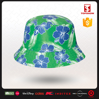 Topshow floral printed polyester custom bucket hat