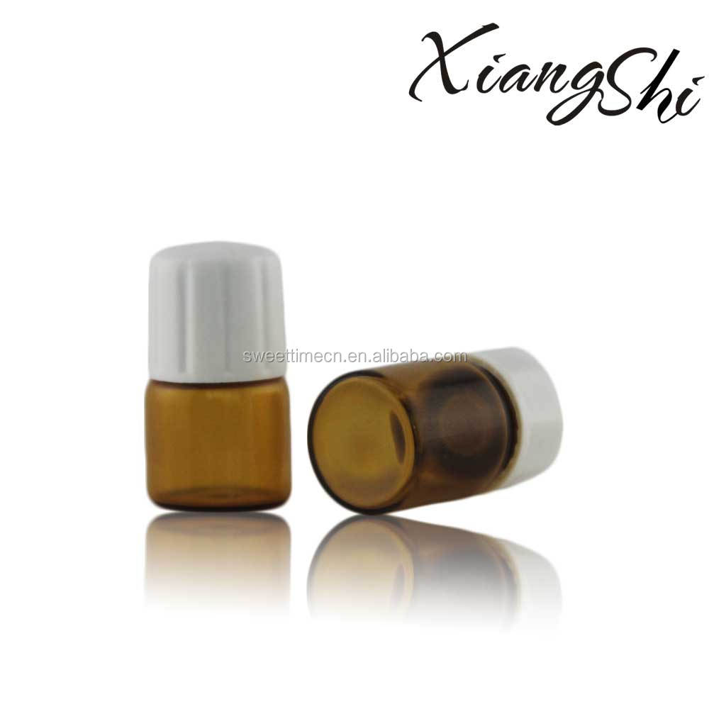 Amber 3ml Glass Vial With Plastic Cap And Stopper