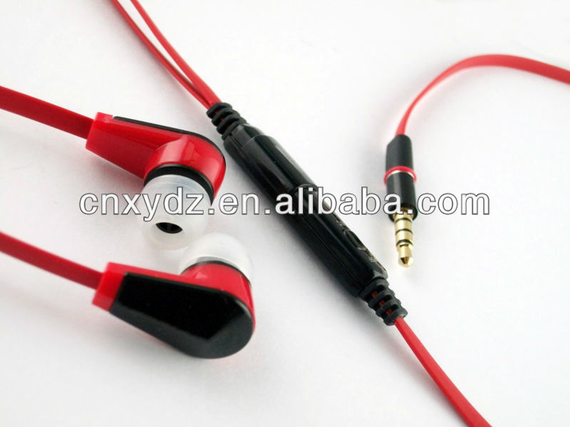 3.5mm flat cable earphones with volume control and micophone