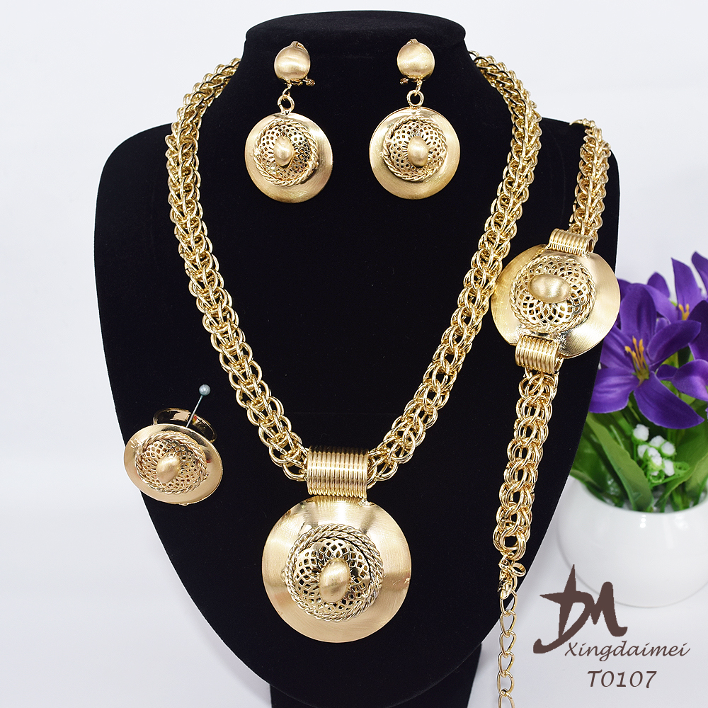 wholesale African set <strong>jewelry</strong> fashion, 18K gold plating women big <strong>jewelry</strong> set T0107