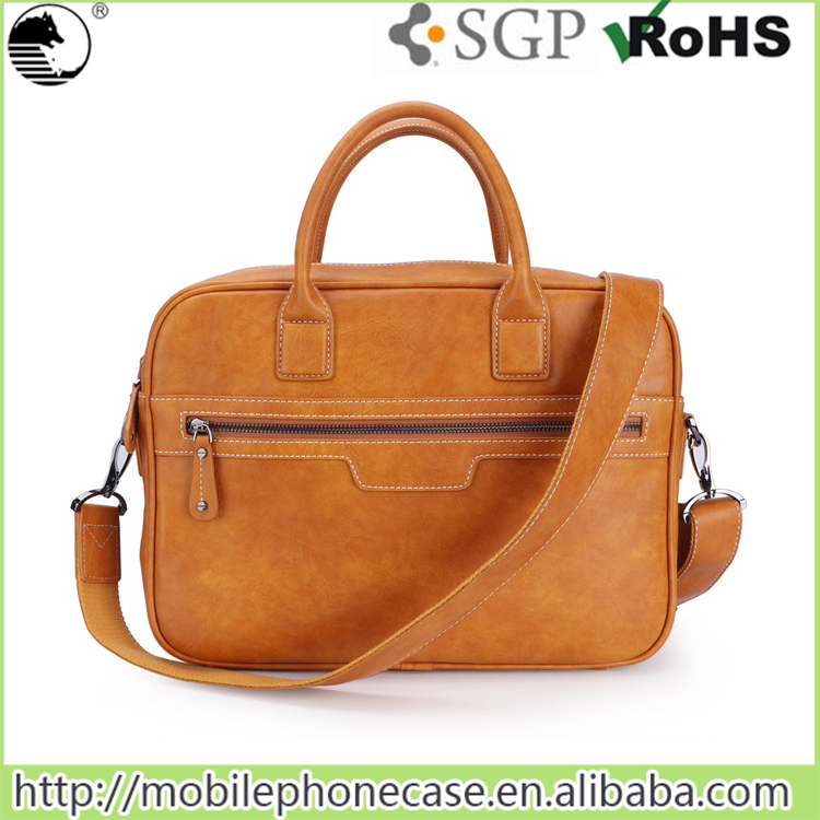 fashion 13 inch leather laptop bag with trolley strap