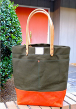 high quality and vintage Waxed Canvas Tote Bag with Leather Handles ,Large Olive & Orange Color Blocked Tote ,two-tone tote