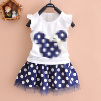 summer girls suits dot angel-sleeve sets children clothing set baby clothes short-sleeve T-shirt dress 2 pcs kids suit