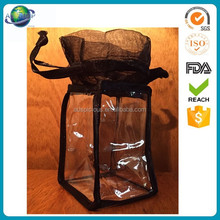 Good quality black organza drawstring pvc vinyl gift bag