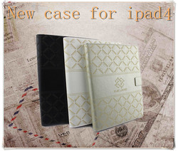 High quality PU Case for ipad 4 with Laser Printing,Wallet case for ipad 4, 9.7 inch tablet case for ipad 4 with card slots