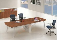 Modern office furniture walnut veneer long meeting conference room table with collecting line box design