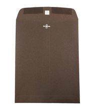 "28lb, 9"" x 12"" Open End Catalog Envelope with Clasp Closure - Chocolate Brown - 100/pack"